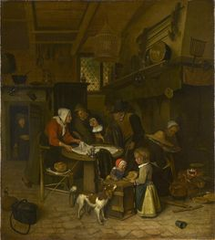 https://flic.kr/p/omPPBW | A Scene in a Peasant Kitchen with a Servant Laying the Cloth | c. 1665. Oil on canvas. 71,1 x 63,6 cm. The Royal Collection, London. 405297.