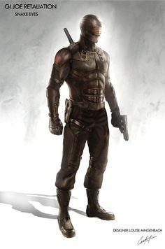 Snake Eyes costume concept art by conceptual illustrator, Constantine Sekeris for G.I. Joe: Retaliation.