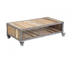 Mesa de madera de teca reciclada Skruf