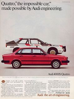 Audi quattro ad 1984 - click image for more great ads through the years Retro Cars, Vintage Cars, Audi Quattro, Allroad Audi, Lamborghini, Automobile, Car Brochure, Ad Car, Volkswagen Group