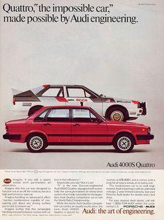 Audi quattro ad 1984 - click image for more great ads through the years Retro Cars, Vintage Cars, Audi Quattro, Lamborghini, Audi 200, Allroad Audi, Automobile, Car Brochure, Ad Car