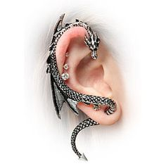 Let A Dragon Be Your Guide: Dragon Ear Wrap Ear be dragons! This Dragon Ear Wrap is just about the coolest piece of jewelry ever. This gleaming reptile curves around your ear and whispers all of his secrets and magical advice just to you. Ear Jewelry, Cute Jewelry, Jewelry Box, Jewelery, Jewelry Accessories, Body Jewelry, Steel Jewelry, Women Accessories, Unique Jewelry