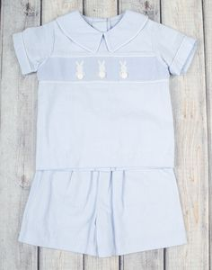 Stellybelly Cotton Tail Bunny Collared Short Set