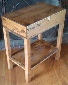 Repurposed Wine Crate Side Table! J'ai déjà la boite. y reste a y faire le pied & la teindre...