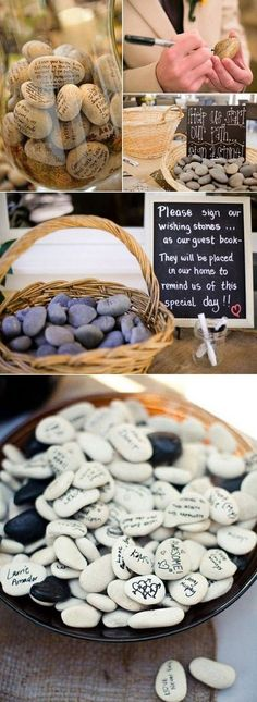 unique wishing stones wedding guest books ideas diy guest book 10 DIY Unique Guest Book Ideas for Weddings Wedding Quotes, Wedding Signs, Wedding Favors, Diy Wedding, Rustic Wedding, Dream Wedding, Wedding Decorations, Party Quotes, Wedding Book