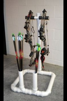 Bow rack made out of PVC pipe                                                                                                                                                     More