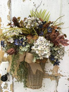 Fall Basket Fall Wreath Autumn Blue Hydrangea Basket Autumn