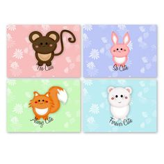 Kawaii Cuddlies Note Cards Set of 4 by LucidDreamDesigns on Etsy, $8.00