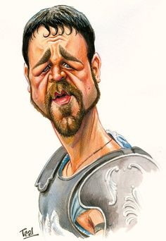 "Russell Crowe as Maximus from the movie ""Gladiator. Cartoon Faces, Funny Faces, Cartoon Art, Cartoon Characters, Caricature Artist, Caricature Drawing, Funny Caricatures, Celebrity Caricatures, Famous Cartoons"