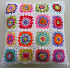 hippie happy granny square cushion cover by riavandermeulen, via Flickr