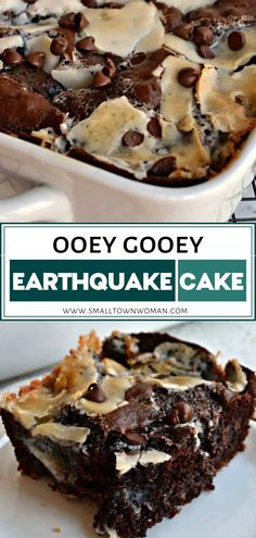 Ooey gooey moist and easy Earthquake Cake recipe perfect for dessert This fun sweet treat combines a box cake mix with coconut pecans and a cream cheese filling Make some for potlucks family gatherings Easter and Mother s day Smores Dessert, Dessert Cake Recipes, Desserts To Make, Easy Cake Recipes, Baking Recipes, Simple Sweets Recipes, The Best Dessert Recipes, Recipes Dinner, Best Dessert Recipe Ever