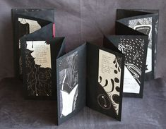 A set of 2 books created as a part of Book Arts Fellowship Program at the Minnesota Center for Book Arts. Each book contains 12 linocut illustration and 12 handwritten poems. Concertina Book, Accordion Book, Origami, Paper Book, Paper Art, Journal D'art, Journals, Book Crafts, Paper Crafts