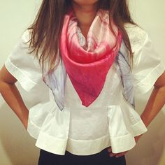 We love PINK and WHITE! Freshen up your summer look with our printed silk scarves. Now 40% OFF with code:SUMMER40 at www.etsy.com/shop/emmaharrietprint #sale #scarfie #accessory #summer #pink #white #luxury #etsy