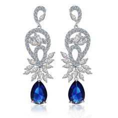 Find More Drop Earrings Information about Bling Open Double Inverted Pear and Blue Teardrop Earrings Silver Tone Marquise Flowers Deco Created Sapphire CZ Drop Earrings,High Quality teardrop earrings,China cz dropping Suppliers, Cheap blue teardrop from Dreamland Dresses & Accessories on Aliexpress.com
