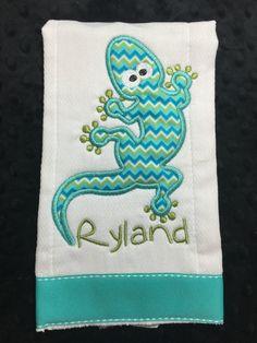 Gecko Burp Cloth by TWINSANDQUINN on Etsy