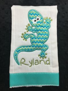 Gecko Burp Cloth by TWINSANDQUINN on Etsy