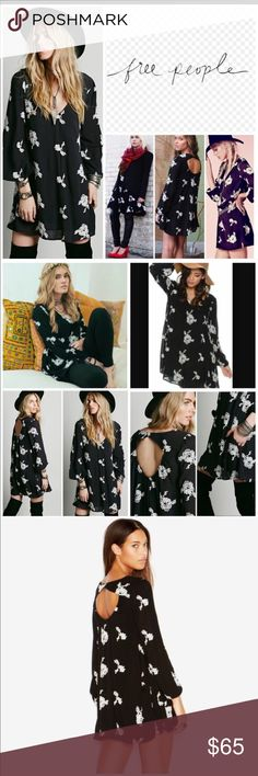 Free People Emma Austin swing dress in black Free people Emma Austin Swing dress in black with white roses, size small! Free People Dresses