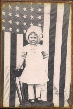 American Flag Patriotic Little Girl