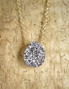 Silver Druzy Necklace, Druzy Quartz Necklace, Drusy Necklace, Layering Necklace, Gemstone Necklace, Druzy Jewelry, 14K GF Cable Chain by julianneblumlo on Etsy https://www.etsy.com/listing/98009470/silver-druzy-necklace-druzy-quartz