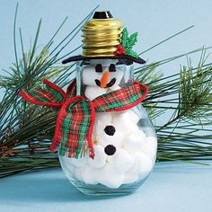 Recycled lightbulb snowman craft. Add charm to any Christmas tree or gift box, and make charming and thoughtful holiday presents for friends and family members.