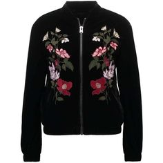 Topshop Blouson Bomber black ($120) ❤ liked on Polyvore featuring outerwear