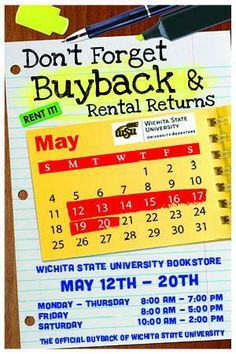 Attn #socialwork students! Book Buyback info for @Wichita State Bookstore for the spring semester.