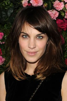 Alexa Chung Medium Straight Cut with Bangs - Shoulder Length Hairstyles Lookbook - StyleBistro