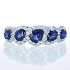 18K White Gold Sapphire and Diamond Wedding Anniversary by SAMnSUE, $1390.00