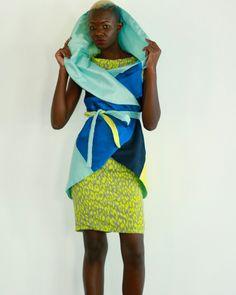Coloured Circular silk drape jacket+ lime print shift dress spring summer 2017 by Favoloso by Nanu