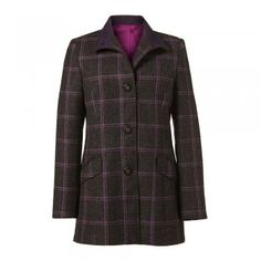Purple and Grey Tweed Linsfort Coat - The Linsfort Coat is one of our best selling coats. It is a timeless garment and one that is a must for your wardrobe. The fabric is a slate grey tweed with a bright purple over-check. It is hip length with a Nehru collar. A lot of our garments are quite tailored at the waist - but this one is designed to give you a little more room at the waist. There is a removable half belt at the back. Tweed Coat, Bright Purple, Slate, Women Wear, Belt, Grey, Check, Fabric, Room