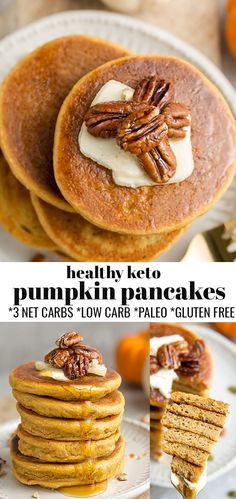These Keto Pumpkin Pancakes are soft, thick, fluffy and so easy to make in just one bowl with no blender required. Just 3g net carbs & made with low carb, paleo-friendly, grain-free, flourless gluten free and sugar free ingredients and come together in under 20 minutes. They're the perfect healthy pumpkin pancakes for fall and make a delicious low carb breakfast, weekend / Sunday brunch for Thanksgiving and all through the holidays! #keto #pumpkin #pumpkinpancakes Best Breakfast Recipes, Low Carb Breakfast, Brunch Recipes, Dessert Recipes, Dinner Recipes, Free Breakfast, Brunch Ideas, Breakfast Ideas, Easy Desserts