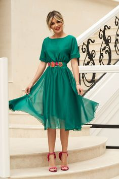StarShinerS green occasional cloche dress with elastic waist accessorized with tied waistband Dress Skirt, Shirt Dress, Baptism Dress, Dress Cuts, Special Occasion Dresses, Size Clothing, New Dress, Elastic Waist, Dress Outfits