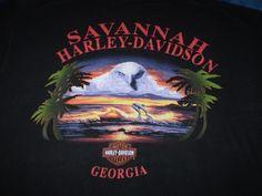Harley-Davidson Black T-Shirt Large Savannah, Ga