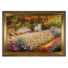 Bring iconic style to your living room, foyer, or bedroom with this hand-painted reproduction of Claude Monet's Artist's Garden at Giverny, artfully f...
