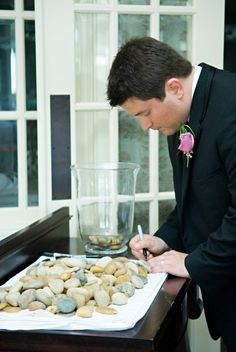 Love this idea- something cute instead of a guest book - great for anniversary party or milestone birthday too