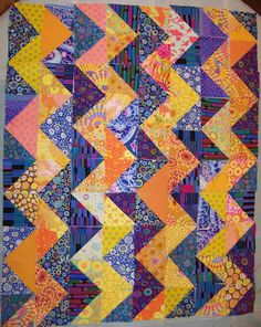 """""""Zig Zag quilt top at Cape Pincushion"""" - I love how the fabrics are different, but it comes together so nicely."""