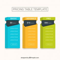 Pricing table template in flat design Free Vector