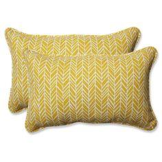 Pillow Perfect Herringbone Indoor / Outdoor Rectangular Throw Pillow - Set of 2 Yellow - 610191
