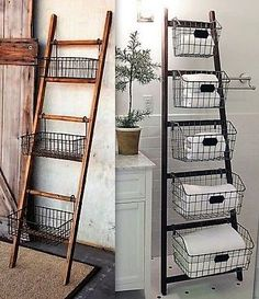 Idées récup et recyclage échelle en bois Decoration idee de deco maison Wood Ladder, Wooden Stairs, Ladder Decor, Deco Originale, Home Look, Rustic Farmhouse, Diy Home Decor, Sweet Home, House Design