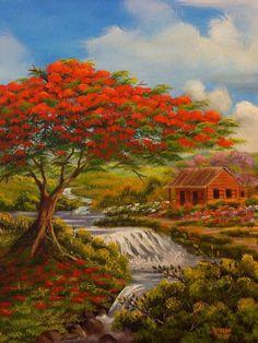 Flamboyan y casita en el rio