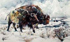 birdWc lian zhen buffalo snow watercolor chinese art