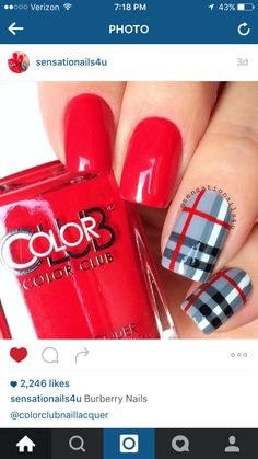 Burberry Nails Red-Handed Show Steel-er Details hand painted with Acrylic 🎨 paint Hk Girl top ✨coat Song🎤🎶🎶🎶Beat your Competition (Vibe tracks) Xmas Nails, Holiday Nails, Christmas Nails, Fun Nails, Bling Nails, Plaid Nail Designs, Pink Nail Designs, Nails Design, Stylish Nails