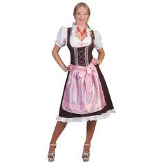 Tiroler Dirndl bruin en roze. Een mooie halflange Tirolerjurk, ook wel Dirndl genoemd, in donkerbruin en roze. Geschikt voor dames.