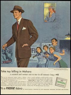 1951 ad for Mohara worsted and mohair suits by Pacific Fabrics.
