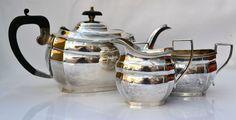 SUPERB Art Deco A1 Silver Plated 3 Piece Tea set
