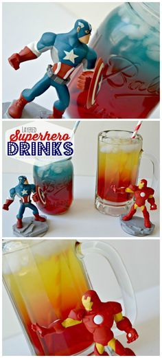 Love these layered drinks for little superheroes! pour your most heavily concentrated drink at the bottom and then the gatorade on top. Why couldn't I find this When I had my son's avengers party recently! Avengers Birthday, Superhero Birthday Party, 4th Birthday Parties, Boy Birthday, Batman Party, Birthday Ideas, Adult Superhero Party, Superhero Party Favors, Superhero Ideas