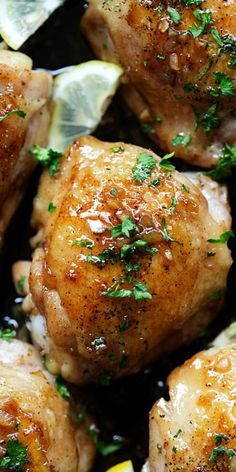 Brown Butter Honey Garlic Chicken – sweet, savory and sticky skillet chicken with the most delicious honey garlic sauce. Easy dinner for the family | rasamalaysia.com