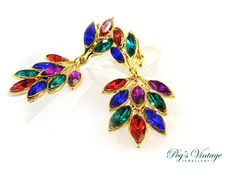 Sparkling Multi Color Crystal by PegsVintageJewellery on Etsy, $28.00