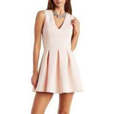 Charlotte Russe Pink Sleeveless Deep V Skater Dress by Charlotte Russe... ($30) ❤ liked on Polyvore featuring dresses, pink, fit & flare dress, mini dress, knit dress, skater dress and pink dress