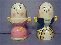 Egg Cup Couple with Shaker Heads, Thames Japan - His trousers are interesting, and she is showing some decollettage.